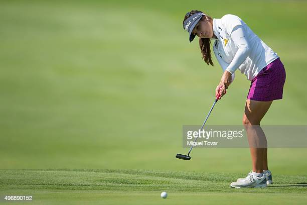 Mariajo Uribe of Colombia puts the ball during the first round of Lorena Ochoa Invitational 2015 at Golf de Mexico Club on November 12 2015 in Mexico...