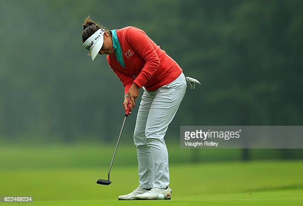 Mariajo Uribe of Colombia putts on the 8th hole during the second round of the Citibanamex Lorena Ochoa Invitational Presented By Aeromexico and...