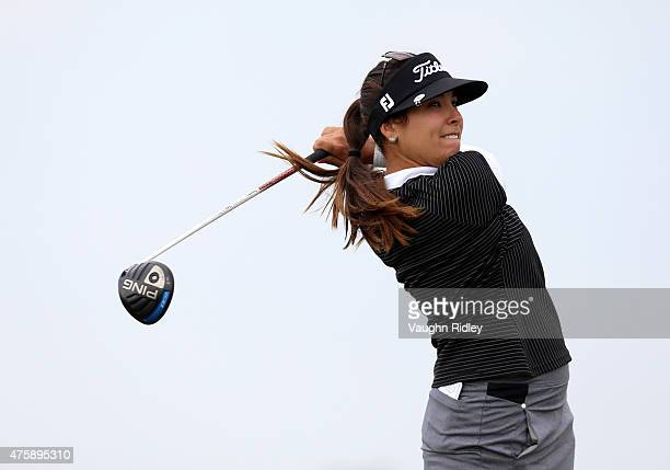Mariajo Uribe of Colombia takes her first shot on the 7th hole during the first round of the Manulife LPGA Classic at the Whistle Bear Golf Club on...