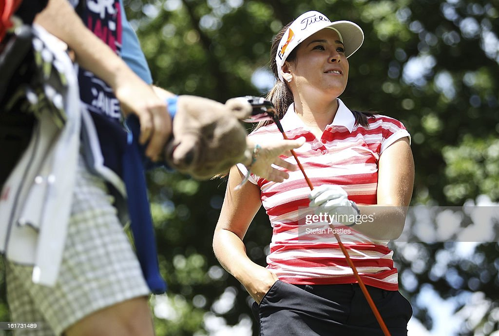 Mariajo Uribe of Columbia hands back her driver during day two of the ISPS Handa Australian Open at Royal Canberra Golf Club on February 15, 2013 in Canberra, Australia.