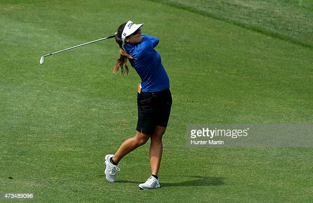 Mariajo Uribe of Columbia hits her second shot on the 18th hole during the second round of the Kingsmill Championship presented by JTBC on the River...
