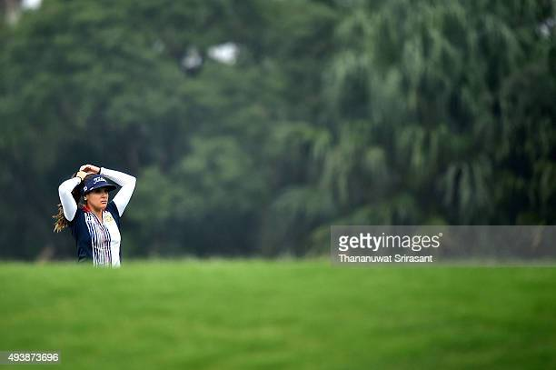 Mariajo Uribe of Columbia reacts during day two of 2015 Fubon LPGA Taiwan Championship on October 23 2015 in Miramar Resort Country Club Taipei Taiwan