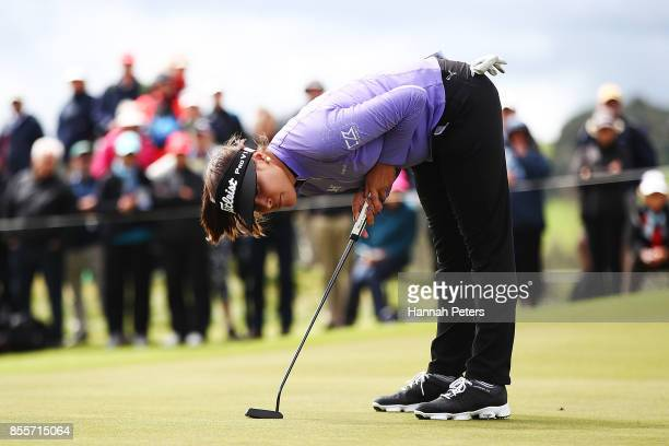 Mariajo Uribe of Columbia reacts to a putt during day three of the New Zealand Women's Open at Windross Farm on September 30 2017 in Auckland New...