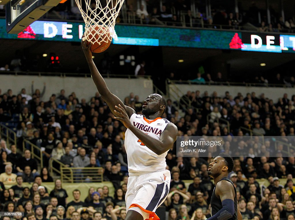 Marial Shayok #4 of the Virginia Cavaliers lays one in during the game against the Pittsburgh Panthers at Petersen Events Center on February 6, 2016 in Pittsburgh, Pennsylvania.