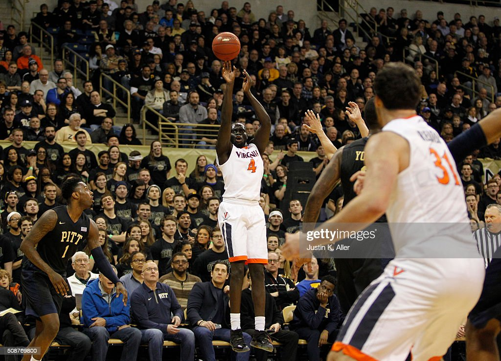 Marial Shayok #4 of the Virginia Cavaliers pulls up for a shot during the game against the Pittsburgh Panthers at Petersen Events Center on February 6, 2016 in Pittsburgh, Pennsylvania.