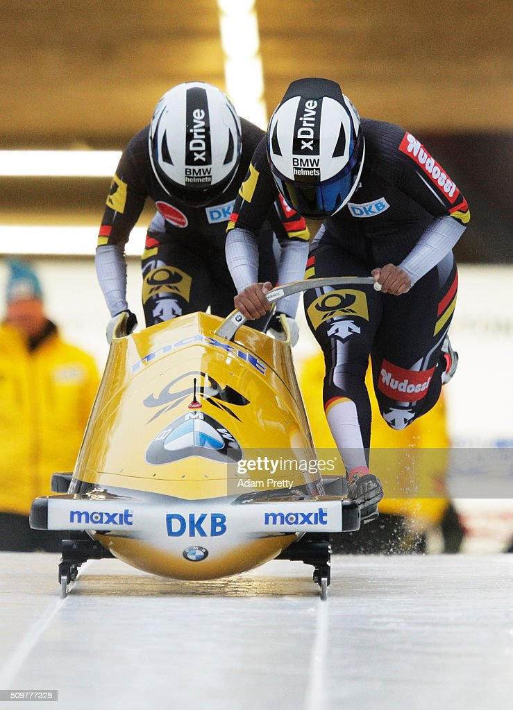 Mariama Jamanka and Erline Nolte of Germany push their Bob off the start during during Day 1 of the IBSF World Championships for Bob and Skeleton at Olympiabobbahn Igls on February 12, 2016 in Innsbruck, Austria.