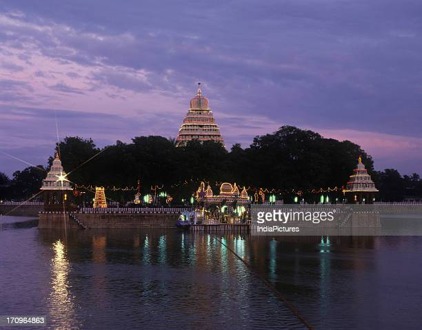 Mariamman Theppakulam a huge tank illuminated in the evening during the Float festival at Madurai Tamil Nadu India