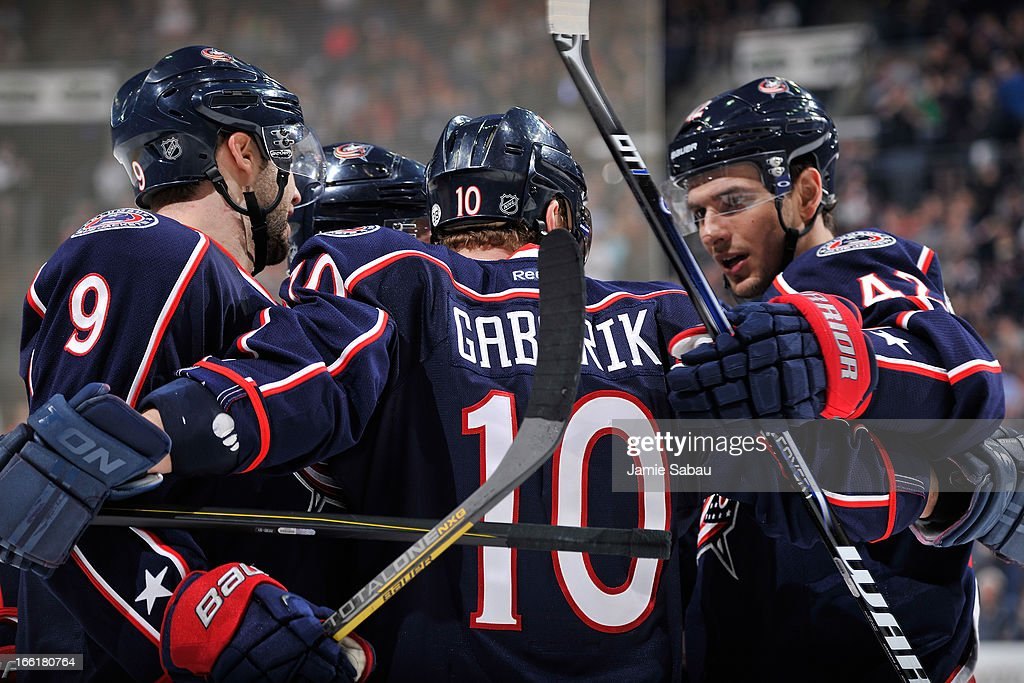 Marian Gaborik #10 of the Columbus Blue Jackets celebrates with his teammates after scoring a goal during the third period on April 9, 2013 at Nationwide Arena in Columbus, Ohio. Columbus defeated San Jose 4-0.