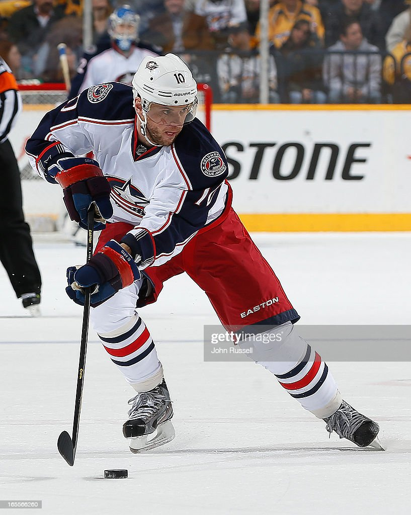 <a gi-track='captionPersonalityLinkClicked' href=/galleries/search?phrase=Marian+Gaborik&family=editorial&specificpeople=202477 ng-click='$event.stopPropagation()'>Marian Gaborik</a> #10 of the Columbus Blue Jackets skates the puck against the Nashville Predators during an NHL game at the Bridgestone Arena on April 4, 2013 in Nashville, Tennessee.