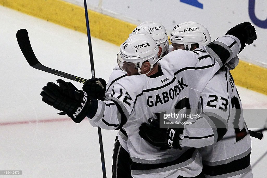 Marian Gaborik #12 of the Los Angeles Kings celebrates with his teammates after scoring the game-tying goal against Corey Crawford #50 of the Chicago Blackhawks in the third period during Game Seven of the Western Conference Final in the 2014 Stanley Cup Playoffs at United Center on June 1, 2014 in Chicago, Illinois.