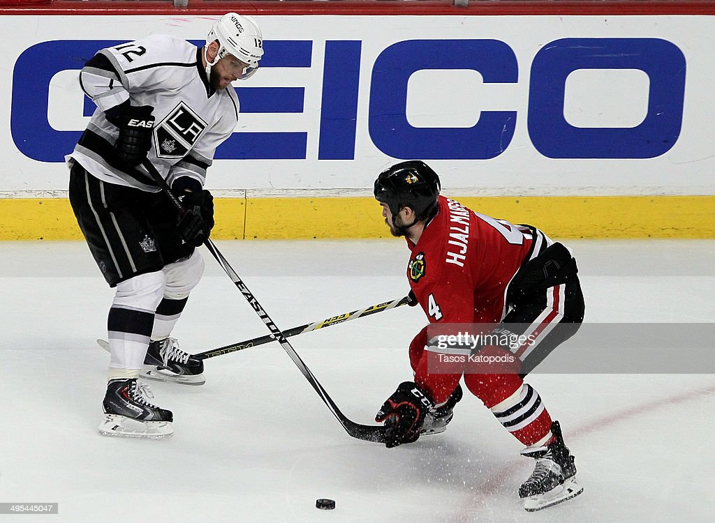 Marian Gaborik #12 of the Los Angeles Kings in action against Niklas Hjalmarsson #4 of the Chicago Blackhawks during Game Seven of the Western Conference Final in the 2014 Stanley Cup Playoffs at United Center on June 1, 2014 in Chicago, Illinois.