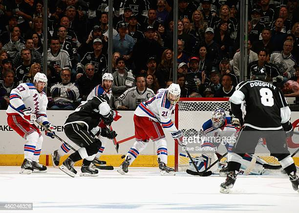 Marian Gaborik of the Los Angeles Kings puts a shot past goaltender Henrik Lundqvist of the New York Rangers to score in the third period of Game Two...