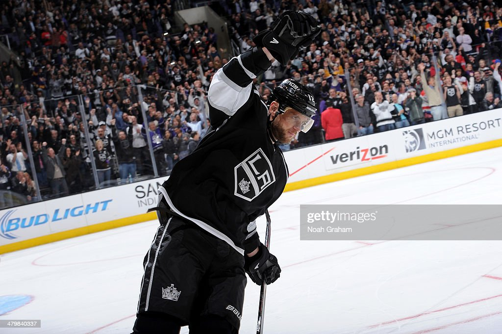 <a gi-track='captionPersonalityLinkClicked' href=/galleries/search?phrase=Marian+Gaborik&family=editorial&specificpeople=202477 ng-click='$event.stopPropagation()'>Marian Gaborik</a> #12 of the Los Angeles Kings reacts after scoring a goal in the shootout against the Washington Capitals at Staples Center on March 20, 2014 in Los Angeles, California.