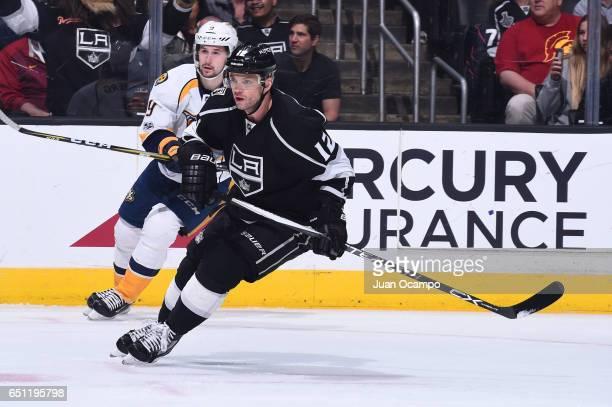 Marian Gaborik of the Los Angeles Kings skates against Filip Forsberg of the Nashville Predators at STAPLES Center on March 09 2017 in Los Angeles...