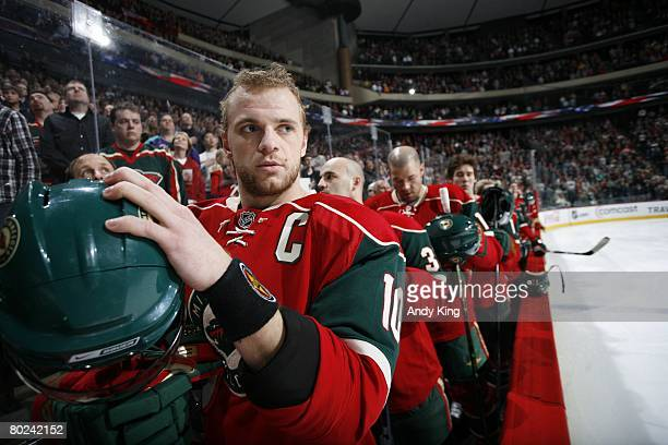 Marian Gaborik of the Minnesota Wild stands near the bench before the game against the Los Angeles Kings at Xcel Energy Center on March 2 2008 in...