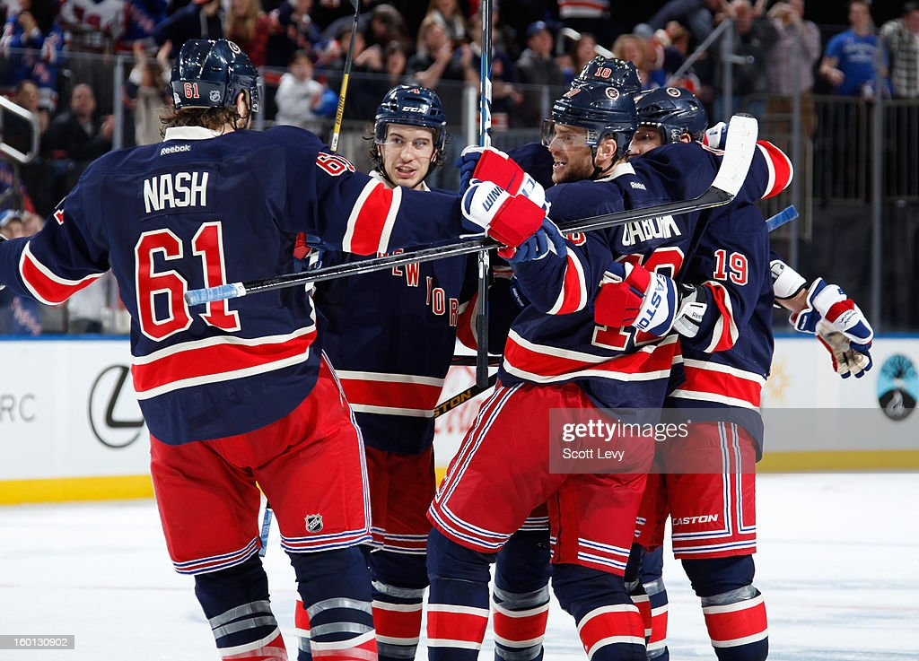 <a gi-track='captionPersonalityLinkClicked' href=/galleries/search?phrase=Marian+Gaborik&family=editorial&specificpeople=202477 ng-click='$event.stopPropagation()'>Marian Gaborik</a> #10 of the New York Rangers celebrates his goal against the Toronto Maple Leafs at Madison Square Garden on January 26, 2013 in New York City. The Rangers defeated the Leafs 5-2.