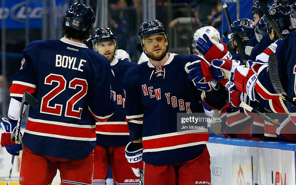 <a gi-track='captionPersonalityLinkClicked' href=/galleries/search?phrase=Marian+Gaborik&family=editorial&specificpeople=202477 ng-click='$event.stopPropagation()'>Marian Gaborik</a> #10 of the New York Rangers celebrates his second goal of the game in the third period against the Toronto Maple Leafs with teammate Brian Boyle #22 at Madison Square Garden on January 26, 2013 in New York City.