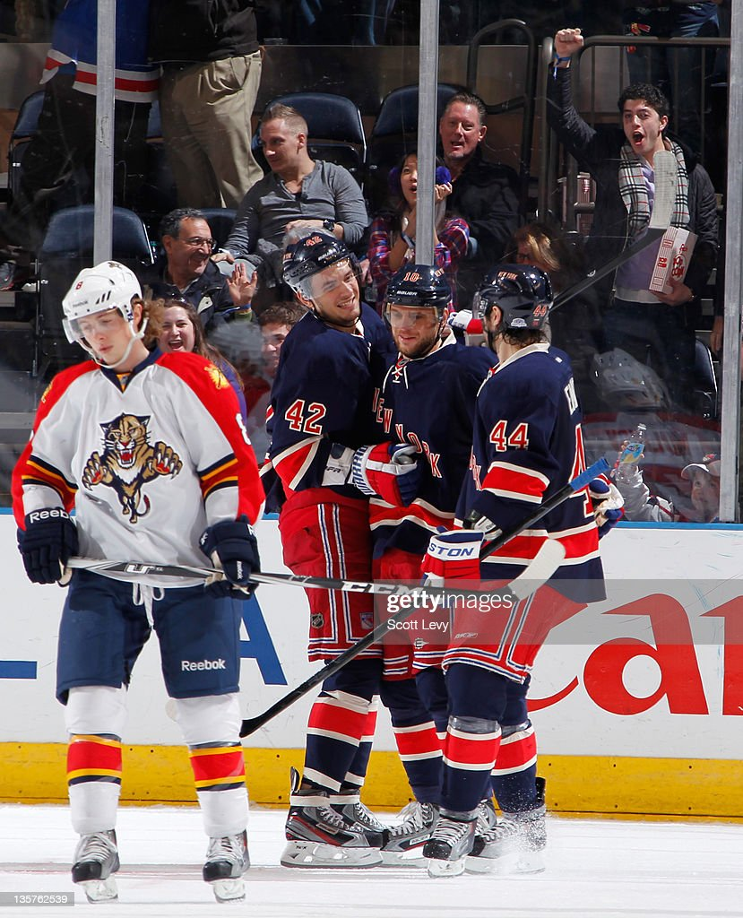 Marian Gaborik of the New York Rangers celebrates his second period goal against the Florida Panthers at Madison Square Garden on December 11 2011 in...