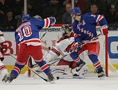 Marian Gaborik of the New York Rangers scores a first period goal against Ilya Bryzgalov of the Phoenix Coyotes on October 26 2009 at Madison Square...
