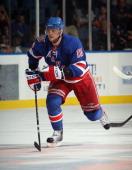Marian Gaborik of the New York Rangers skates against the New York Islanders the Nassau Coliseum on October 11 2010 in Uniondale New York