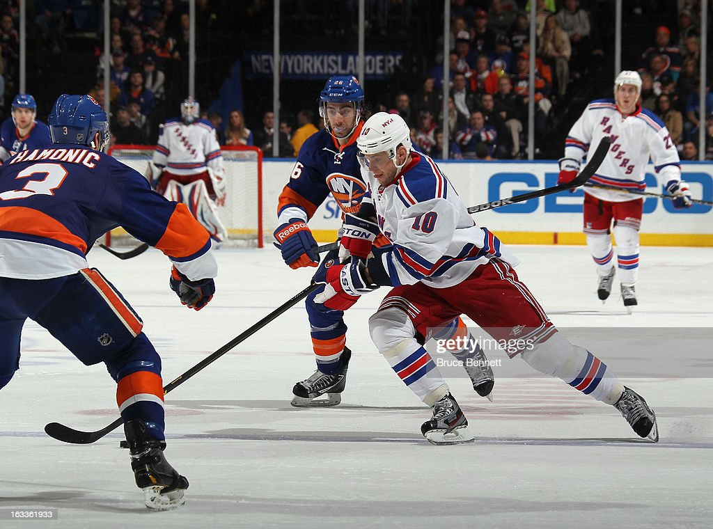 Marian Gaborik #10 of the New York Rangers skates against the New York Islanders at the Nassau Veterans Memorial Coliseum on March 7, 2013 in Uniondale, New York. The Rangers defeated the Islanders 2-1 in overtime.