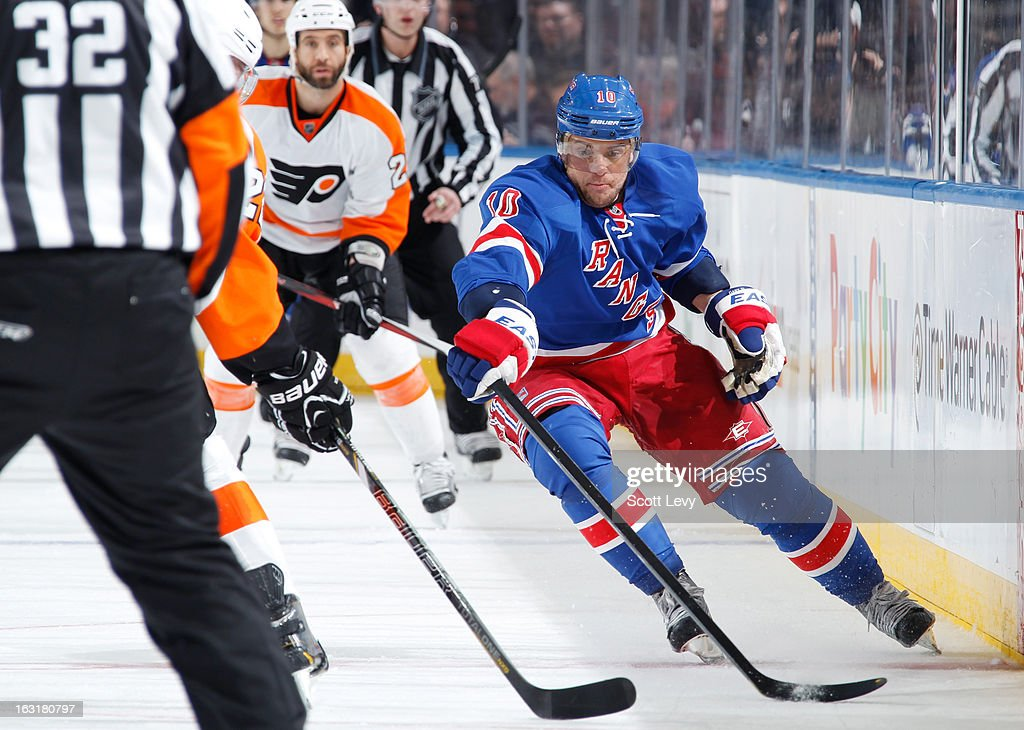 <a gi-track='captionPersonalityLinkClicked' href=/galleries/search?phrase=Marian+Gaborik&family=editorial&specificpeople=202477 ng-click='$event.stopPropagation()'>Marian Gaborik</a> #10 of the New York Rangers skates under pressure by the Philadelphia Flyers at Madison Square Garden on March 5, 2013 in New York City. The Rangers defeat the Flyers 4-2.