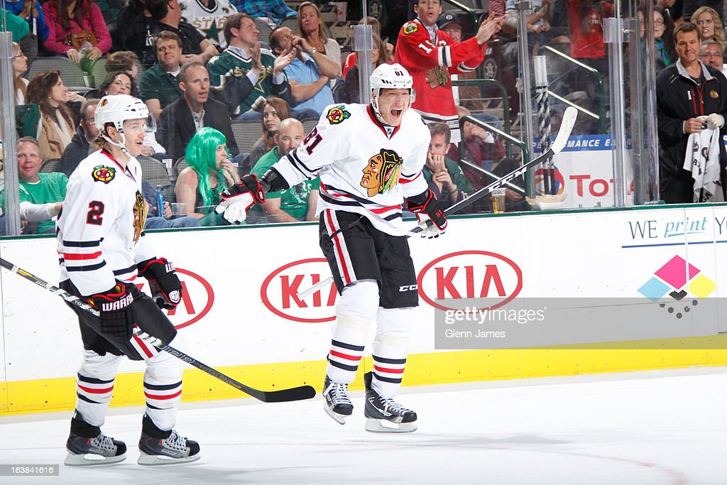 <a gi-track='captionPersonalityLinkClicked' href=/galleries/search?phrase=Marian+Hossa&family=editorial&specificpeople=202233 ng-click='$event.stopPropagation()'>Marian Hossa</a> #81 and <a gi-track='captionPersonalityLinkClicked' href=/galleries/search?phrase=Duncan+Keith&family=editorial&specificpeople=4194433 ng-click='$event.stopPropagation()'>Duncan Keith</a> #2 of the Chicago Blackhawks celebrate a goal against the Dallas Stars at the American Airlines Center on March 16, 2013 in Dallas, Texas.