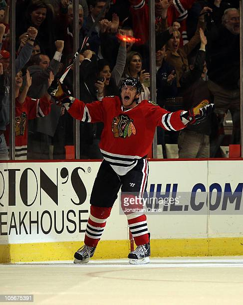 Marian Hossa of the Chicago Blackhawks celebrates his seocnd goal in the 3rd period against the St Louis Blues at the United Center on October 18...