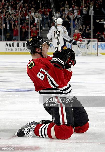 Marian Hossa of the Chicago Blackhawks celebrates scoring the game winning goal against the Nashville Predators at Game Five of the Western...