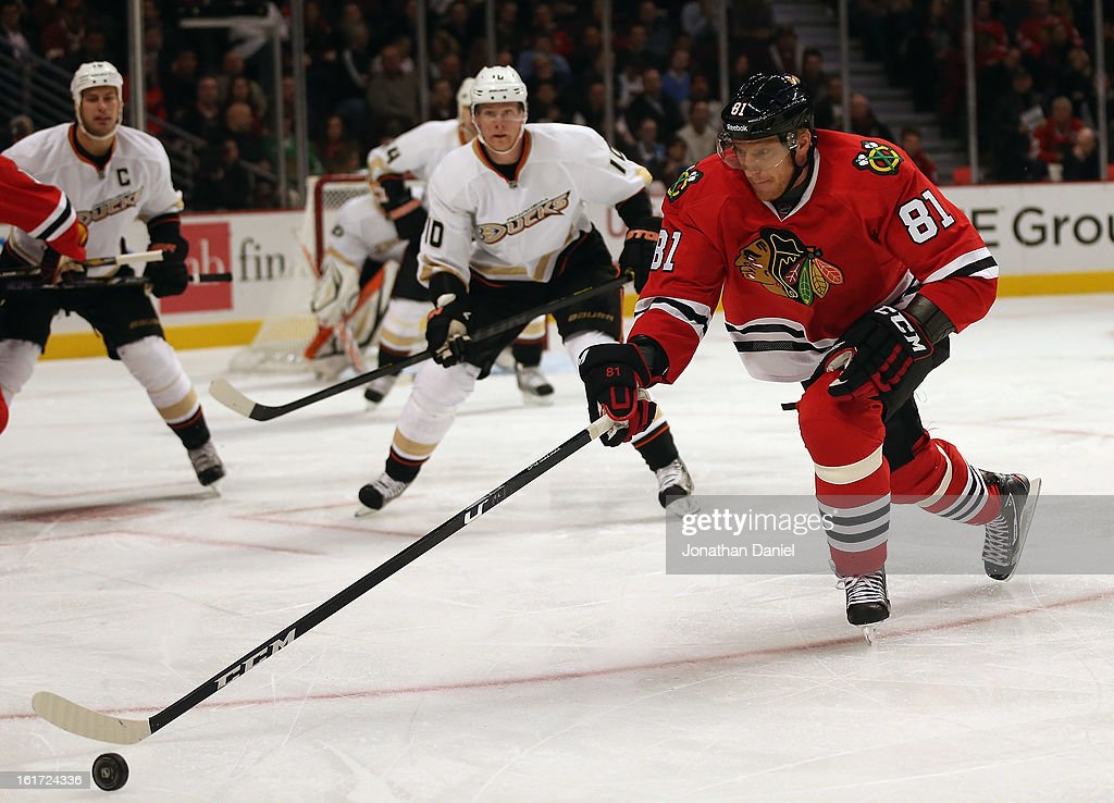 <a gi-track='captionPersonalityLinkClicked' href=/galleries/search?phrase=Marian+Hossa&family=editorial&specificpeople=202233 ng-click='$event.stopPropagation()'>Marian Hossa</a> #81 of the Chicago Blackhawks chases the puck against the Anaheim Ducks at the United Center on February 12, 2013 in Chicago, Illinois. The Ducks defeated the Blackhawks 3-2 in a shootout.