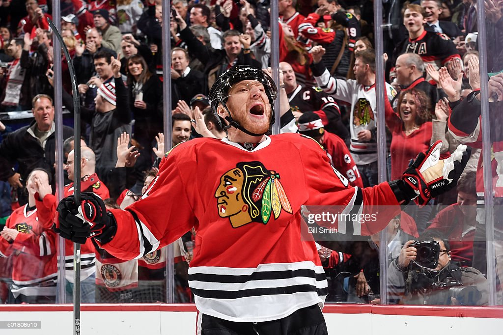 <a gi-track='captionPersonalityLinkClicked' href=/galleries/search?phrase=Marian+Hossa&family=editorial&specificpeople=202233 ng-click='$event.stopPropagation()'>Marian Hossa</a> #81 of the Chicago Blackhawks reacts after assisting in a goal against the Edmonton Oilers in the first period of the NHL game at the United Center on December 17, 2015 in Chicago, Illinois.