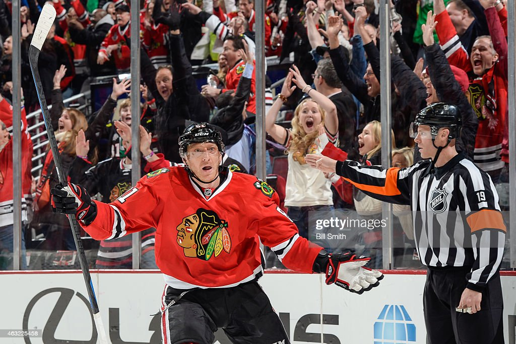 <a gi-track='captionPersonalityLinkClicked' href=/galleries/search?phrase=Marian+Hossa&family=editorial&specificpeople=202233 ng-click='$event.stopPropagation()'>Marian Hossa</a> #81 of the Chicago Blackhawks reacts after scoring against the Vancouver Canucks in the third period to tie the game at the United Center on February 11, 2015 in Chicago, Illinois.