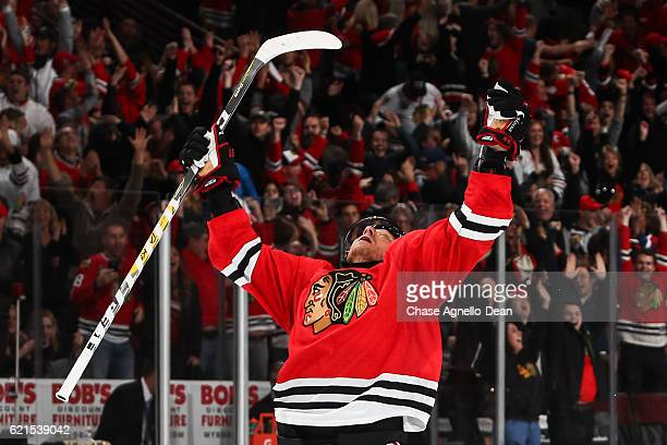 Marian Hossa of the Chicago Blackhawks reacts after scoring the gamewinning goal in overtime against the Dallas Stars at the United Center on...