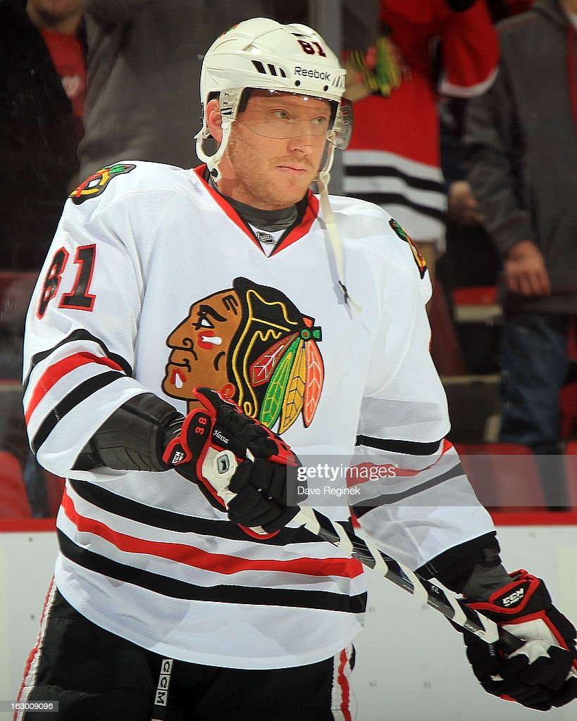 Marian Hossa #81 of the Chicago Blackhawks skates around in warm-ups before his 1,000th NHL game against the Detroit Red Wings at Joe Louis Arena on March 3, 2013 in Detroit, Michigan.
