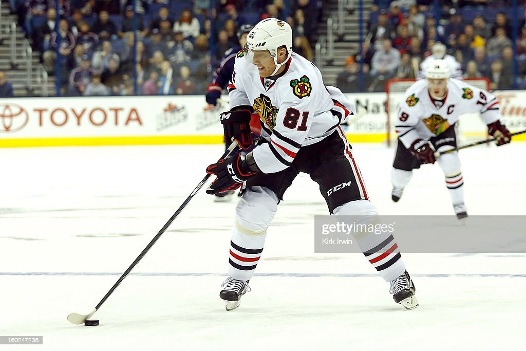 Marian Hossa #81 of the Chicago Blackhawks skates with the puck during the game against the Columbus Blue Jackets on January 26, 2013 at Nationwide Arena in Columbus, Ohio.
