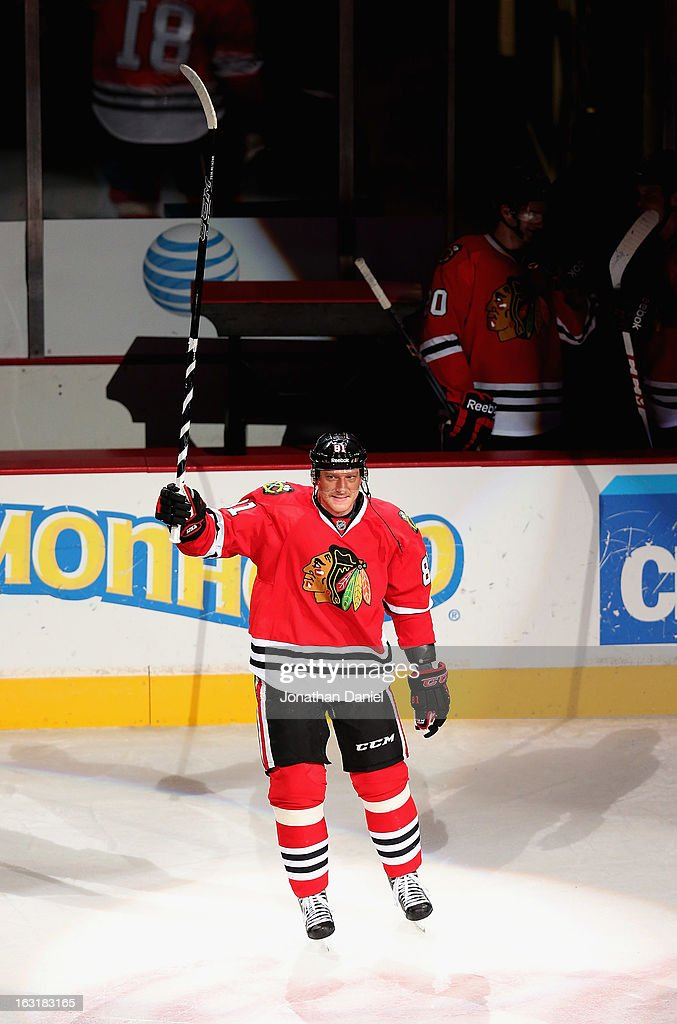 <a gi-track='captionPersonalityLinkClicked' href=/galleries/search?phrase=Marian+Hossa&family=editorial&specificpeople=202233 ng-click='$event.stopPropagation()'>Marian Hossa</a> #81 of the Chicago Blackhawks was named the number three star of the game against the Minnesota Wild at the United Center on March 5, 2013 in Chicago, Illinois. The Blackhawks defeated the Wild 5-3.