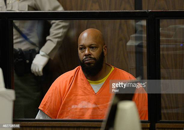 Marian 'Suge' Kinght appears at his arraignmet at Compton Courthouse on February 3 2015 in Compton California Knight is charged with murder and...