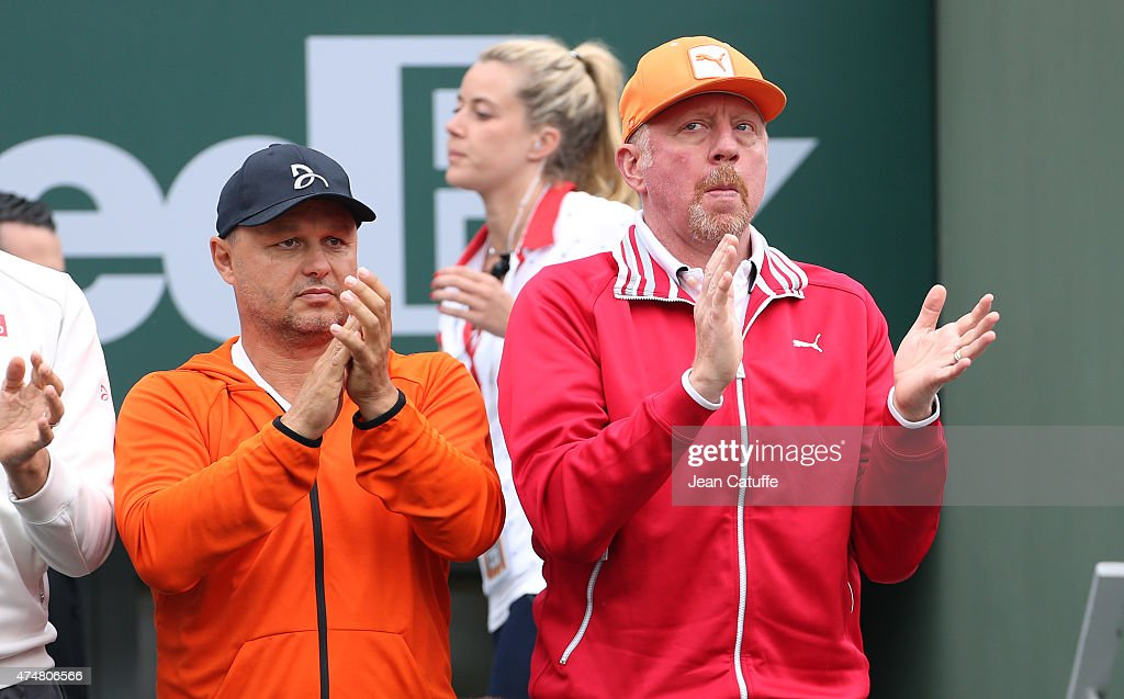 Marian Vajda and <a gi-track='captionPersonalityLinkClicked' href=/galleries/search?phrase=Boris+Becker&family=editorial&specificpeople=67204 ng-click='$event.stopPropagation()'>Boris Becker</a>, coaches of Novak Djokovic applaud Novak's victory during day 3 of the French Open 2015 at Roland Garros stadium on May 26, 2015 in Paris, France.