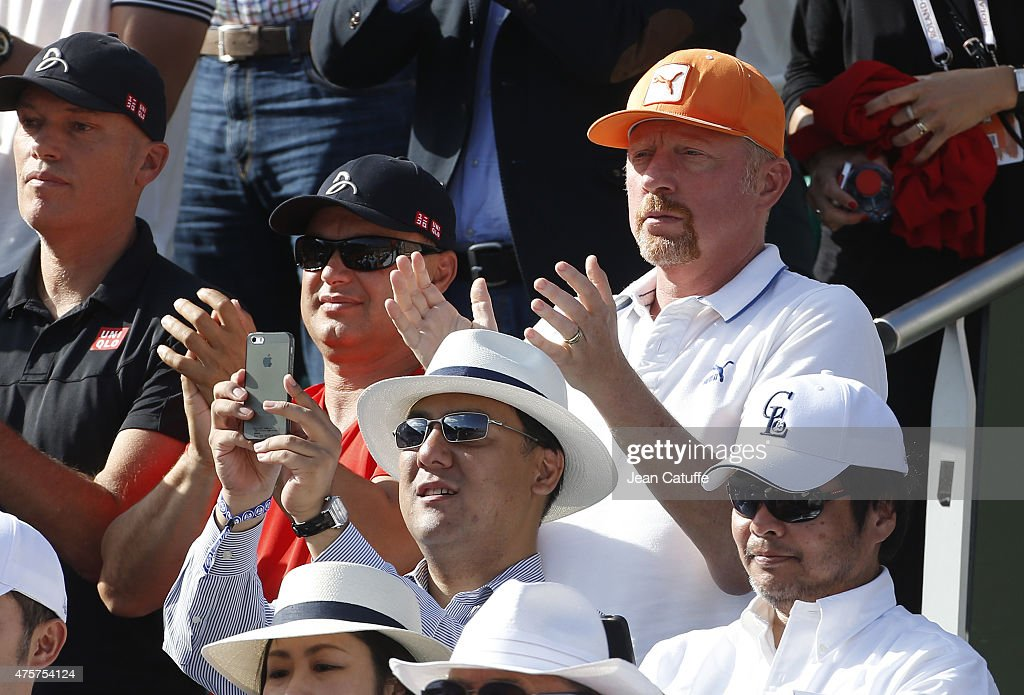 Marian Vajda and <a gi-track='captionPersonalityLinkClicked' href=/galleries/search?phrase=Boris+Becker&family=editorial&specificpeople=67204 ng-click='$event.stopPropagation()'>Boris Becker</a>, coaches of Novak Djokovic attend Novak's victory over Rafael Nadal on day 11 of the French Open 2015 at Roland Garros stadium on June 3, 2015 in Paris, France.