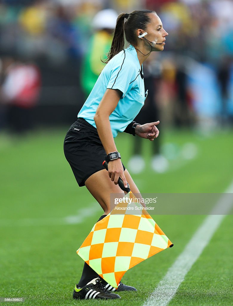 Mariana Almeida assistant referee in action during the match between Canada and Zimbabwe womens football for the summer olympics at Arena Corinthians...