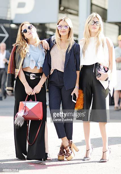 Mariana Cantu Luiza Ottoni and Fer Medina are seen outside the DKNY show during New York Fashion Show 2016 on September 16 2015 in New York City
