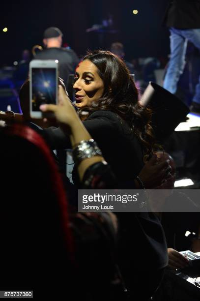 Mariana Downing attend boyfriend Marc Anthony concert at AmericanAirlines Arena on November 17 2017 in Miami Florida