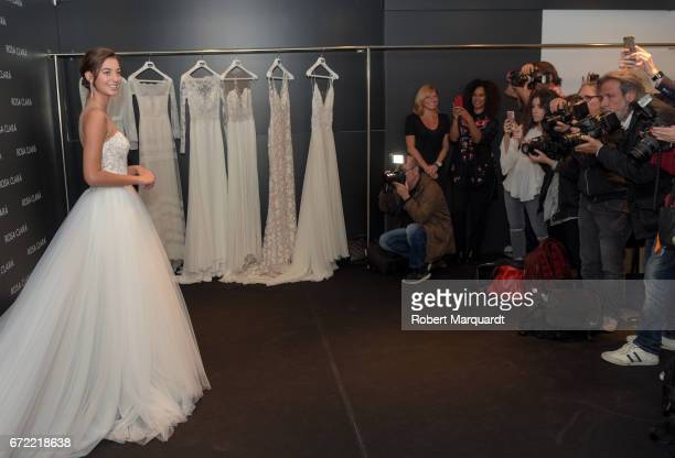 Mariana Downing attends a bridal fitting at the Rosa Clara Bridal studio on April 24 2017 in Barcelona Spain