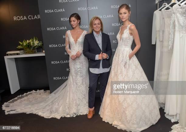 Mariana Downing Rosa Clara and Jordan van der Vyver attend a bridal fitting at the Rosa Clara Bridal studio on April 24 2017 in Barcelona Spain