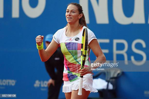 Mariana DuqueMarino of Colombia celebrates after defeating Laura Siegemund of Germany during day five of the Nuernberger Versicherungscup 2016 on May...