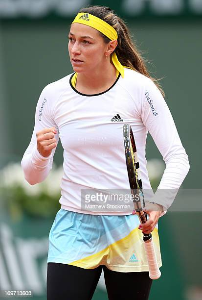 Mariana DuqueMarino of Colombia celebrates during her Women's Singles match against Marion Bartoli of France during day six of the French Open at...