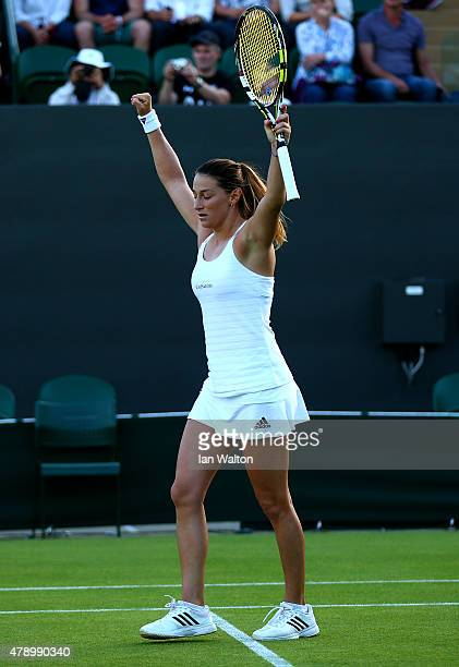 Mariana DuqueMarino of Colombia celebrates winning her Ladies Singles first round match against Naomi Broady of Great Britain during day one of the...