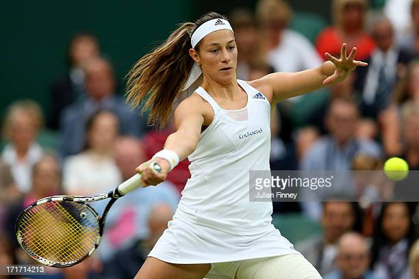Mariana DuqueMarino of Colombia hits a forehand during her Ladies' Singles second round match against Laura Robson of Great Britain on day five of...