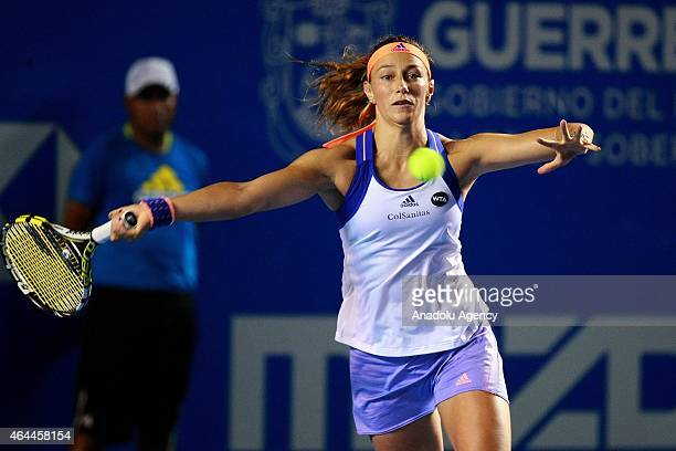 Mariana DuqueMarino of Colombia in action against Maria Sharapova of Russia during a women single match within Telcel Mexican Open 2015 at Mextenis...