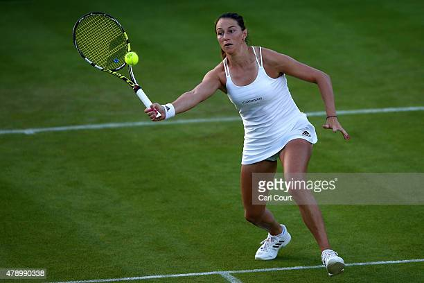 Mariana DuqueMarino of Colombia in action in her Ladies Singles first round match against Naomi Broady of Great Britain during day one of the...